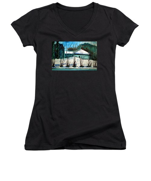 Women's V-Neck T-Shirt (Junior Cut) featuring the painting Fresh Snow Double Matted by Charlie Spear