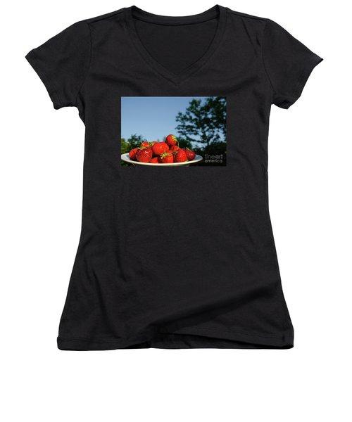 Women's V-Neck T-Shirt featuring the photograph Fresh Strawberriesl by Kennerth and Birgitta Kullman
