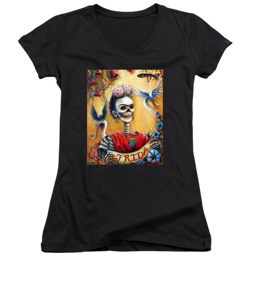 Frida Women's V-Neck T-Shirt (Junior Cut) by Heather Calderon
