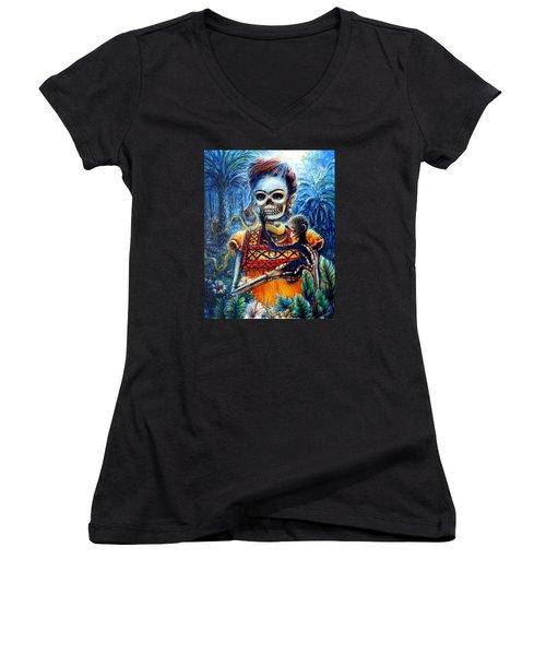 Frida In The Moonlight Garden Women's V-Neck T-Shirt (Junior Cut) by Heather Calderon
