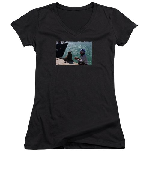 Women's V-Neck T-Shirt (Junior Cut) featuring the photograph Friendly Seal by Bev Conover