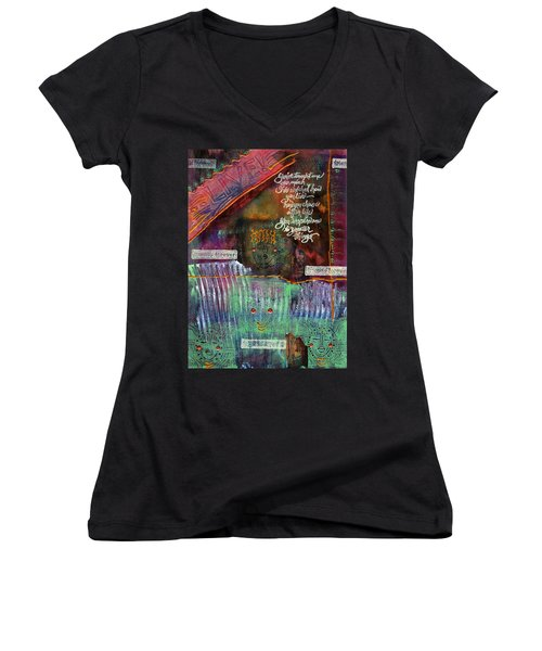 Women's V-Neck T-Shirt (Junior Cut) featuring the mixed media Friends Forever by Angela L Walker
