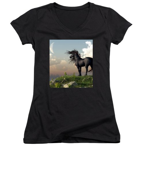 Friesian Moon Women's V-Neck (Athletic Fit)