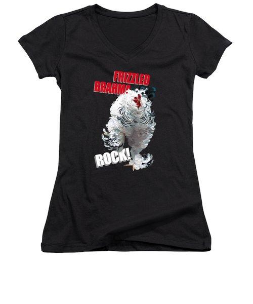 Frizzled Brahma T-shirt Print Women's V-Neck