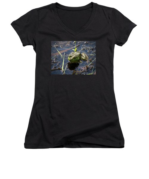 Women's V-Neck T-Shirt (Junior Cut) featuring the photograph Frog  by Trace Kittrell