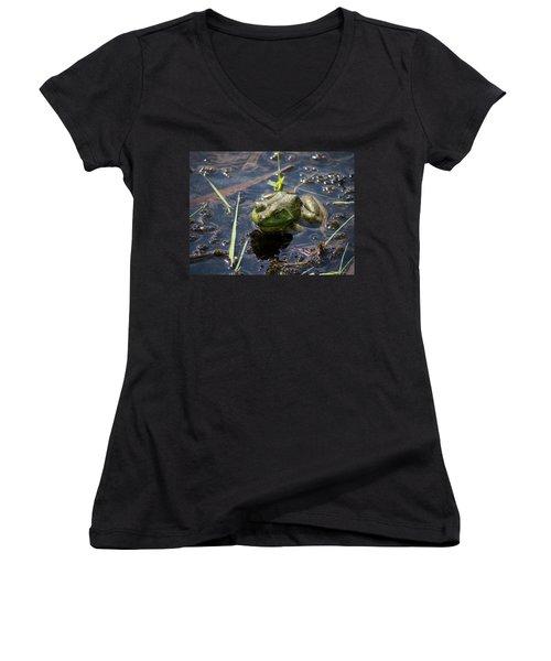 Frog  Women's V-Neck T-Shirt (Junior Cut) by Trace Kittrell