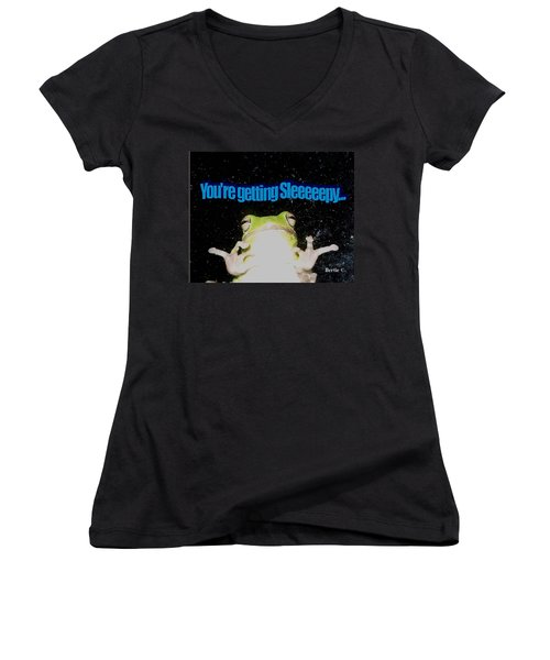 Frog  You're Getting Sleeeeeeepy Women's V-Neck T-Shirt (Junior Cut)