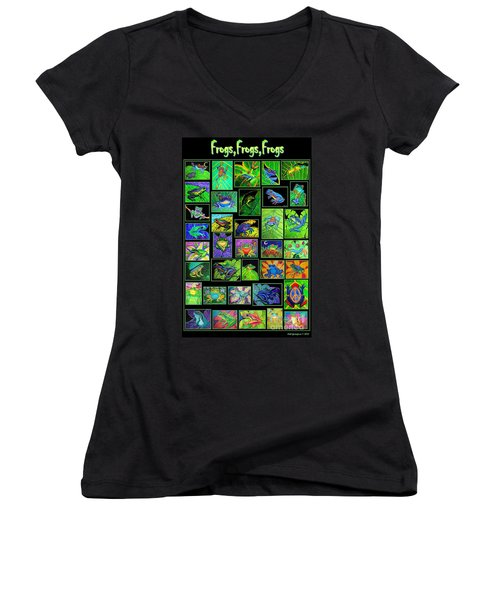 Frogs Poster Women's V-Neck T-Shirt (Junior Cut) by Nick Gustafson