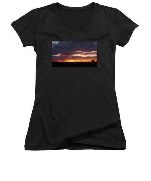 Front Range Sunset Women's V-Neck T-Shirt (Junior Cut) by Monte Stevens