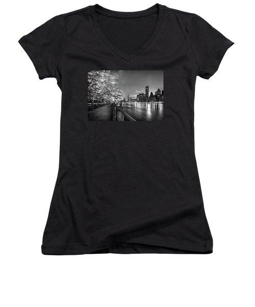 Front Row Roosevelt Island Women's V-Neck T-Shirt (Junior Cut) by Az Jackson