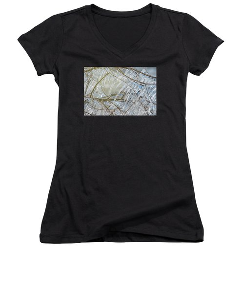 Women's V-Neck T-Shirt (Junior Cut) featuring the photograph Frostbite.. by Nina Stavlund