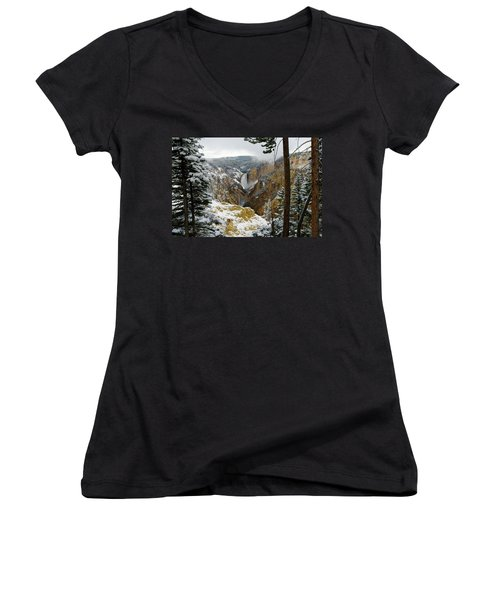 Women's V-Neck T-Shirt (Junior Cut) featuring the photograph Frosted Canyon by Steve Stuller