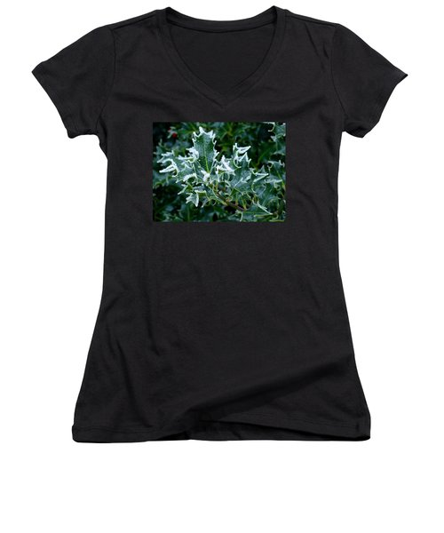 Frosted Holly Women's V-Neck T-Shirt