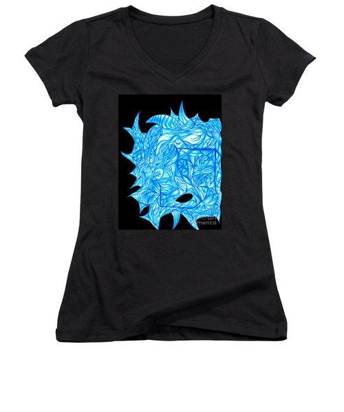 Women's V-Neck T-Shirt (Junior Cut) featuring the drawing Frozen Desire by Jamie Lynn