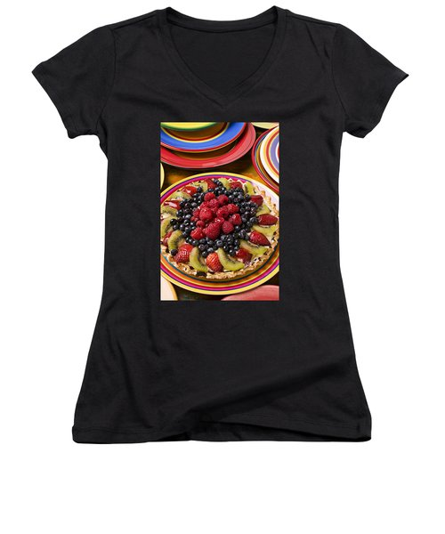 Fruit Tart Pie Women's V-Neck T-Shirt