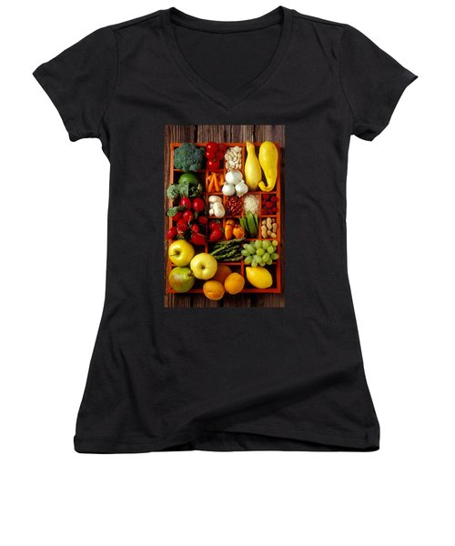 Fruits And Vegetables In Compartments Women's V-Neck T-Shirt (Junior Cut) by Garry Gay