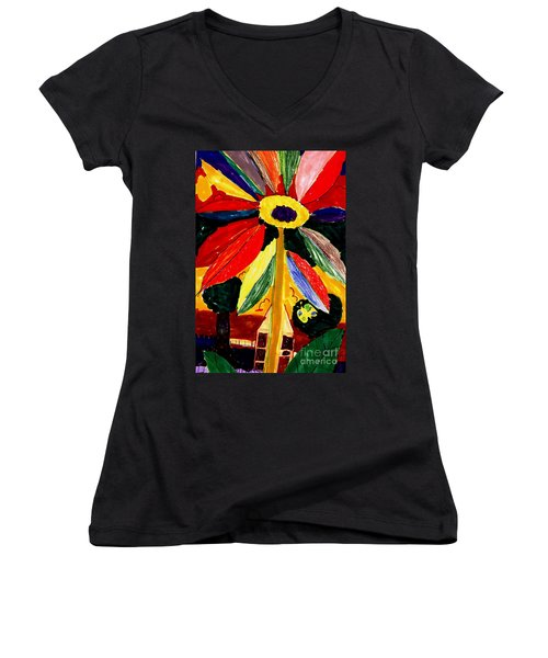 Women's V-Neck T-Shirt (Junior Cut) featuring the painting Full Bloom - My Home 2 by Angela L Walker