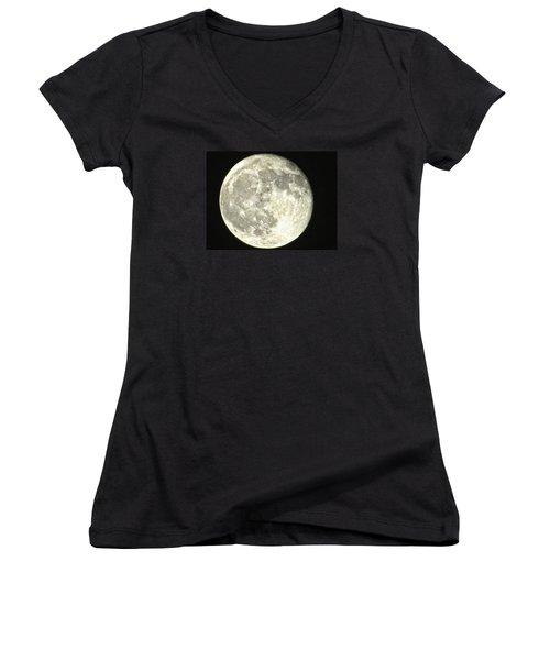 Full Moon Love Women's V-Neck T-Shirt (Junior Cut) by Nikki McInnes