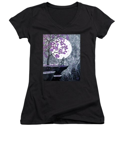 Women's V-Neck T-Shirt featuring the painting Full Moon Magic by Teresa Wing