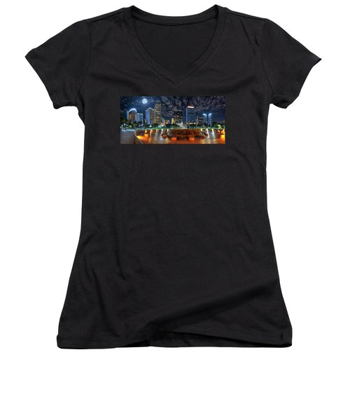 Full Moon Over Bayfront Park In Downtown Miami Women's V-Neck
