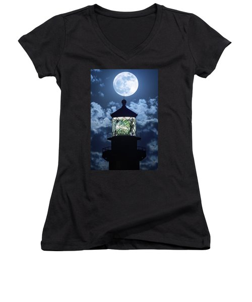 Women's V-Neck T-Shirt (Junior Cut) featuring the photograph Full Moon Over Hillsboro Lighthouse In Pompano Beach Florida  by Justin Kelefas