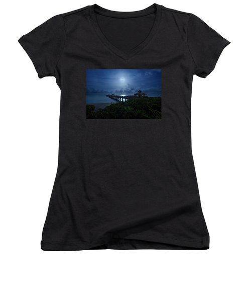 Full Moon Over Juno Beach Pier Women's V-Neck