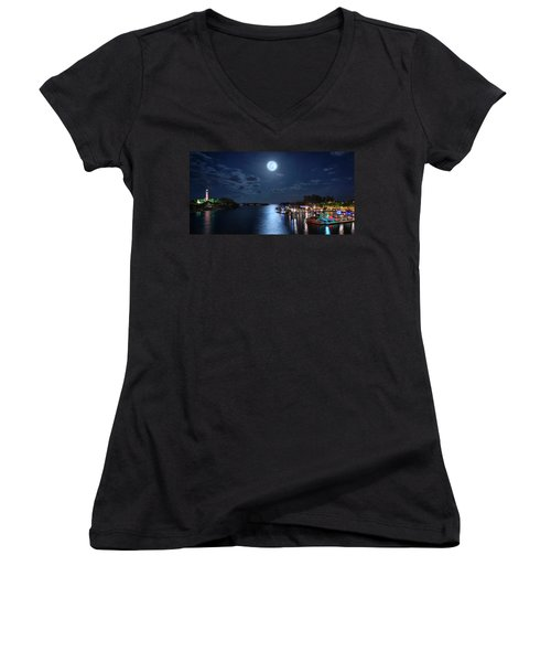 Full Moon Over Jupiter Lighthouse And Inlet In Florida Women's V-Neck