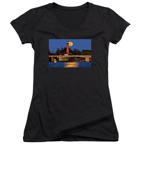 Women's V-Neck T-Shirt (Junior Cut) featuring the photograph Full Moon Over Jupiter Lighthouse, Florida by Justin Kelefas