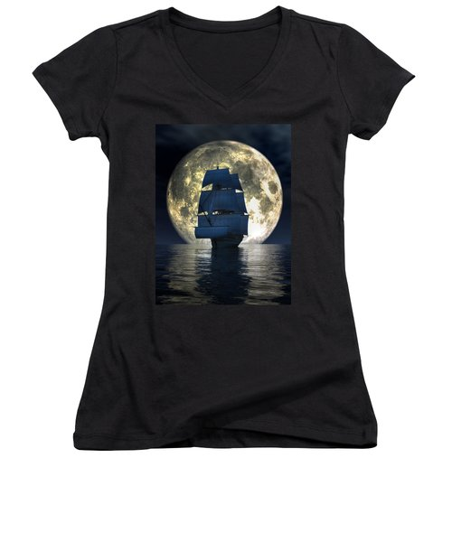 Full Moon Pirates Women's V-Neck (Athletic Fit)