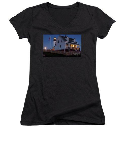 Women's V-Neck T-Shirt (Junior Cut) featuring the photograph Full Moon Rise At Pemaquid Light, Bristol, Maine -150858 by John Bald