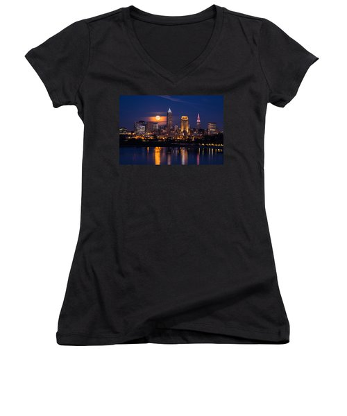 Women's V-Neck featuring the photograph Full Moonrise Over Cleveland by Dale Kincaid