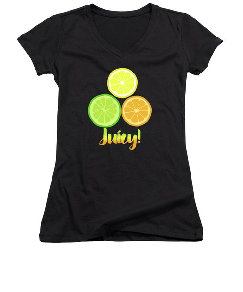 Fun Juicy Orange Lime Lemon Citrus Art Women's V-Neck T-Shirt (Junior Cut) by Tina Lavoie