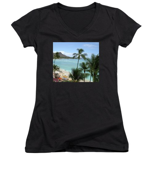 Fun Times On The Beach In Waikiki Women's V-Neck T-Shirt (Junior Cut) by Karen Nicholson