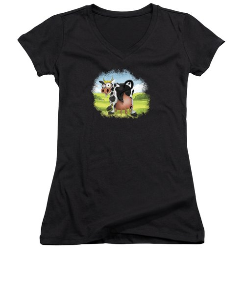 Women's V-Neck featuring the drawing Funny Cow by Julia Art