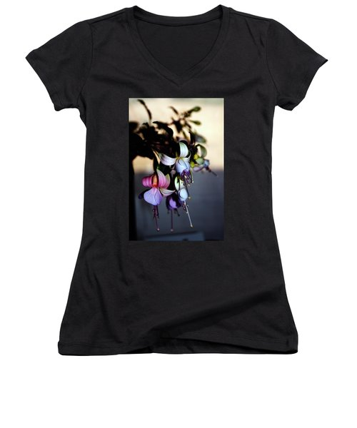 Fuschia Dancing Lady Women's V-Neck T-Shirt (Junior Cut) by Joseph Frank Baraba