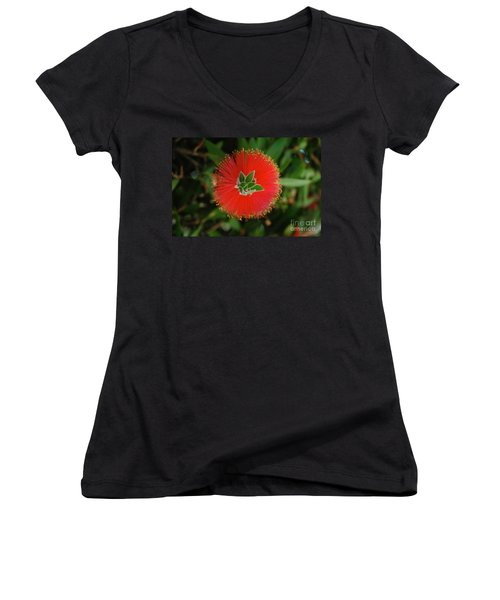 Fuzzy Flower Women's V-Neck T-Shirt