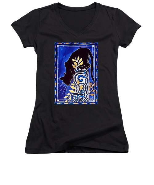 Women's V-Neck T-Shirt (Junior Cut) featuring the painting G Is For Gato - Cat Art With Letter G By Dora Hathazi Mendes by Dora Hathazi Mendes