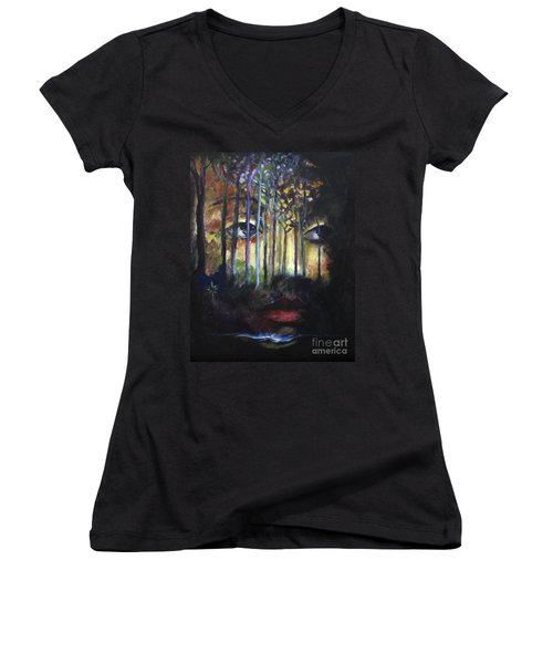 Gaia Women's V-Neck T-Shirt (Junior Cut) by Jodie Marie Anne Richardson Traugott          aka jm-ART