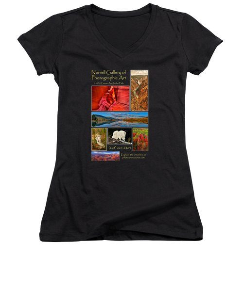 Gallery Ad Women's V-Neck T-Shirt (Junior Cut) by Greg Norrell