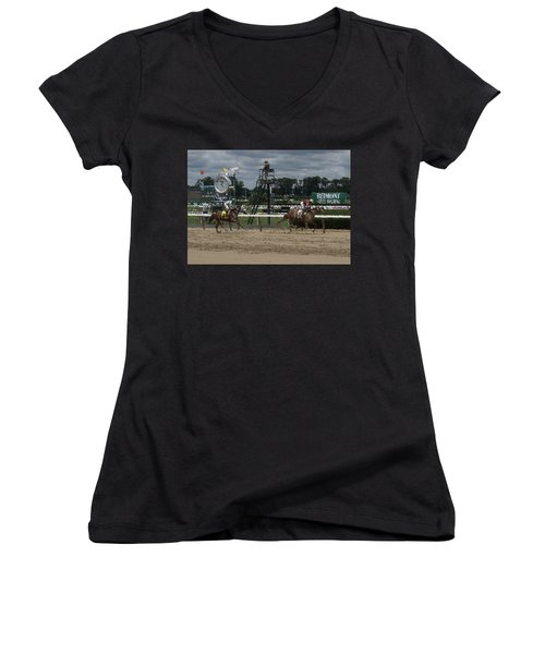 Women's V-Neck T-Shirt (Junior Cut) featuring the digital art Galloping Out Painting by  Newwwman