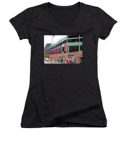 Game Day Women's V-Neck T-Shirt (Junior Cut) by Barbara McDevitt