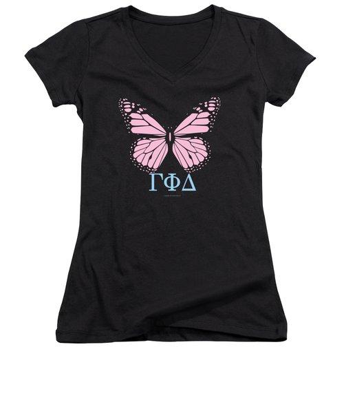 Gamma Phi Delta Classy Butterfly  Women's V-Neck (Athletic Fit)