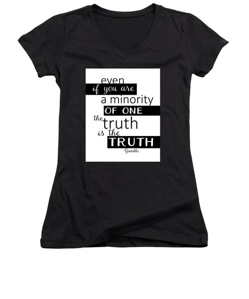 Gandhi Quote On Truth Women's V-Neck (Athletic Fit)