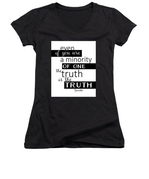 Gandhi Quote On Truth Women's V-Neck T-Shirt