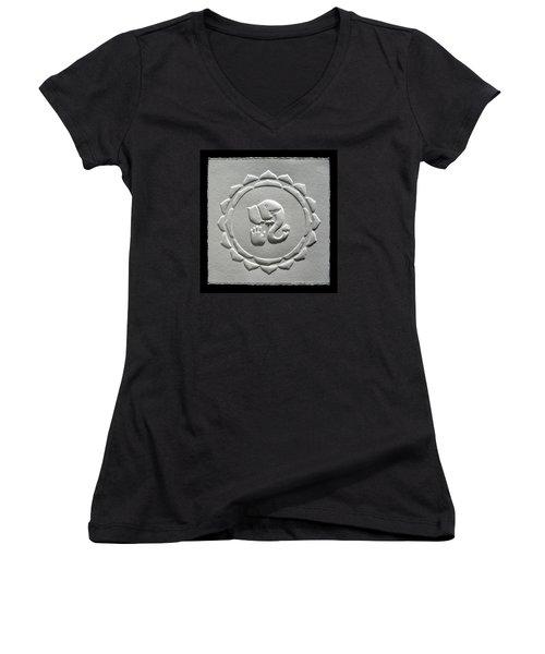 Ganesha Blessings Women's V-Neck T-Shirt (Junior Cut) by Suhas Tavkar