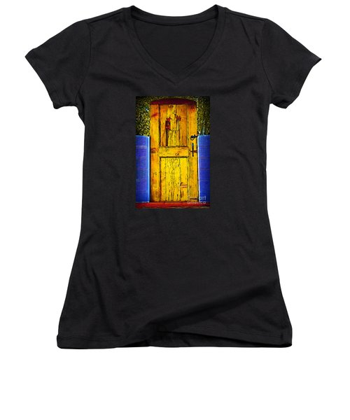 Women's V-Neck T-Shirt (Junior Cut) featuring the digital art Garden Door by Kirt Tisdale