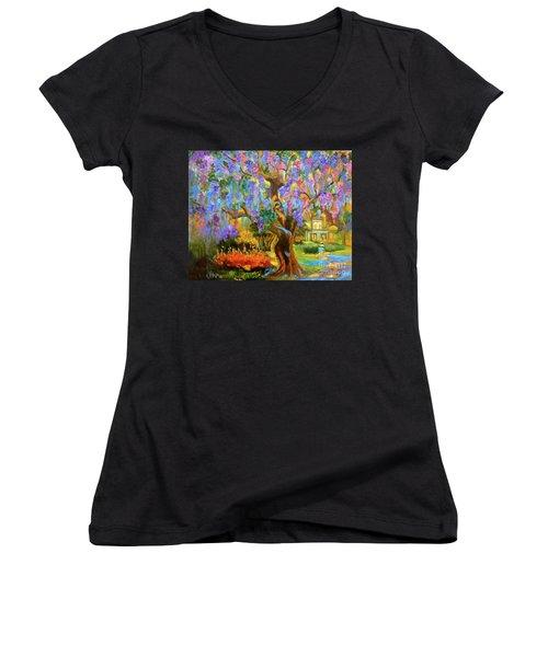 Garden Pathway Women's V-Neck T-Shirt (Junior Cut) by Jenny Lee