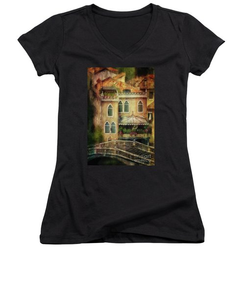 Women's V-Neck T-Shirt featuring the digital art Gardening Venice Style by Lois Bryan