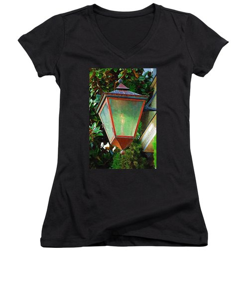 Gas Lantern Women's V-Neck T-Shirt (Junior Cut) by Donna Bentley