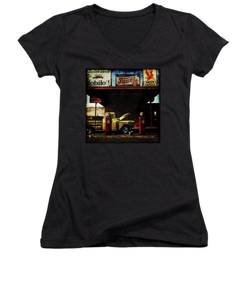 Gas Station No3 Women's V-Neck T-Shirt